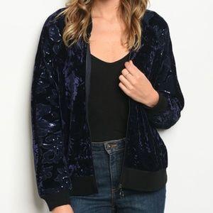 Velvet Bomber Jacket with Sequin Sleeves